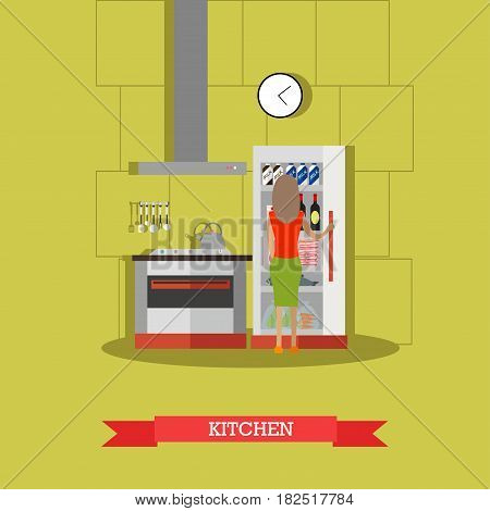 Vector illustration of woman standing in front of opened fridge with food. Kitchen in the house flat style design element.
