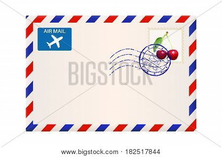 International air mail envelope with postal stamp. Vector 3d illustration isolated on white background