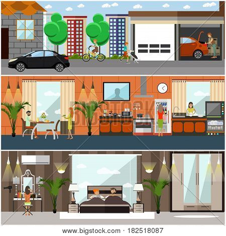 Vector set of house posters, banners. Family characters. Kitchen, bedroom interiors with furniture and household appliances. Home garage with car. Flat style design.
