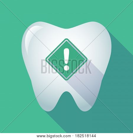 Long Shadow Tooth With   A Warning Road Sign