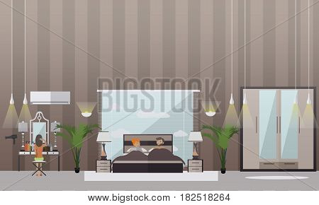 Vector set of bedroom flat style design elements. Family couple taking rest in bed, woman sitting on chair in front of dressing table and combing her hair. Home bedroom interior.