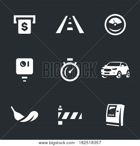 Payment, highway, speedometer, camera, stopwatch, auto, feather, barrier, ATM.