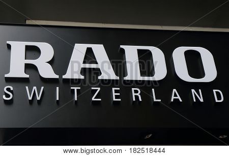 HONG KONG - NOVEMBER 12, 2016: Rado Swiss watch. Rado is a Swiss high range manufacturer of watches, with headquarters in Lengnau Switzerland.
