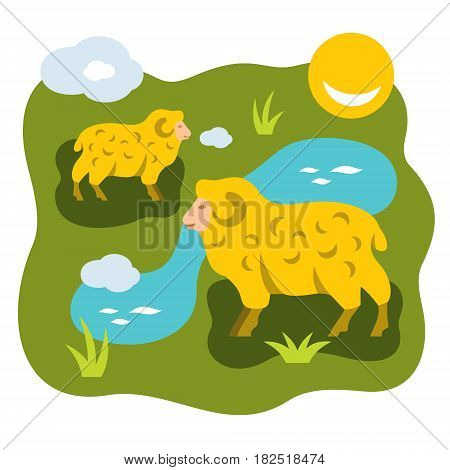 Rams are grazed near the river. Isolated on a white background