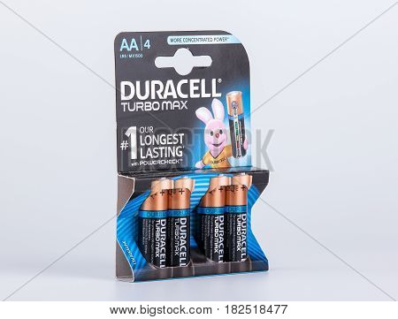 Riga, Latvia - April 18, 2017: Pack of Duracell Batteries, Duracell is an American brand of batteries and smart power solutions