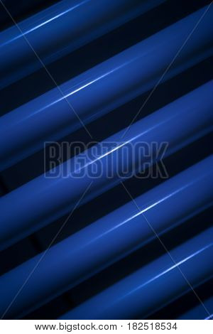 Heating pipes in blue colour closeup view
