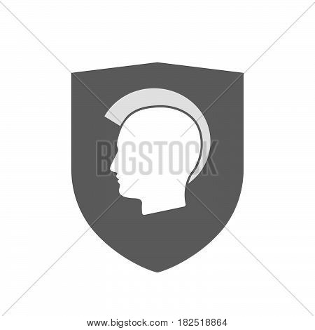Isolated Shield With  A Male Punk Head Silhouette