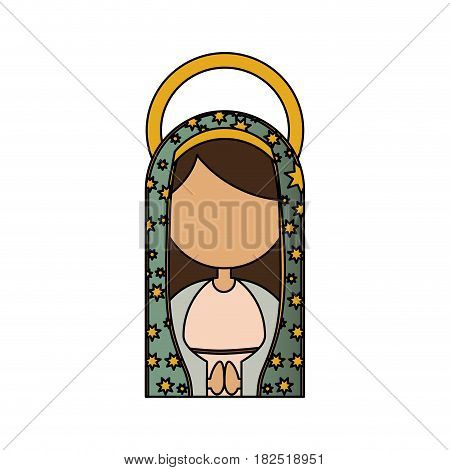 white background of colorful half body faceless virgin of guadalupe vector illustration