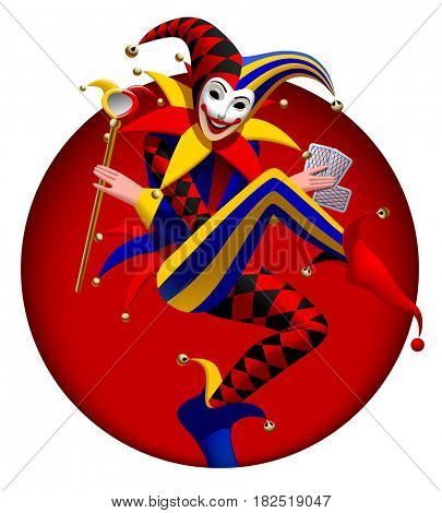Joker with playing cards and mirror in dark red round frame. Three dimensional stylized drawing