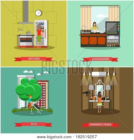 Vector set of house and kitchen square posters. Dishwasher, Kitchen, Dog and Dressing table flat style design elements.