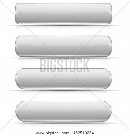 White glass buttons. Rectangle and oval web icons. Vector 3d illustration isolated on white background