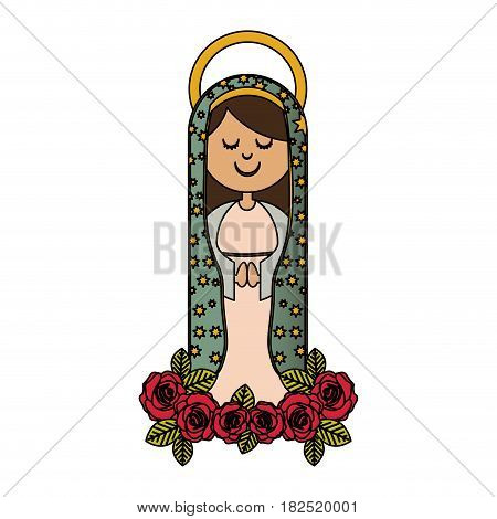 white background of colorful virgin of guadalupe and ornament of roses vector illustration