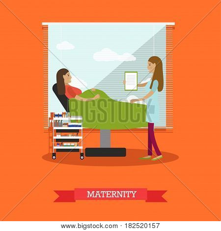 Vector illustration of doctor female consulting her pregnant patient lying in gynaecological examination chair. Maternity concept flat style design element.