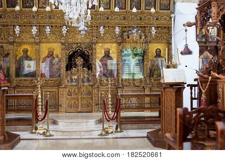 CYPRUS, OMODHOS VILLAGE - 17 OCT 2015: INSIDE VIEW OF CHURCH OF HOLY CROSS AT OMODHOS VILLAGE