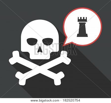 Long Shadow Skull With A  Rook   Chess Figure