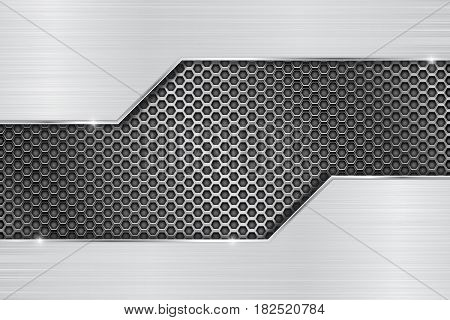 Stainless steel background with perforation. Vector 3d illustration