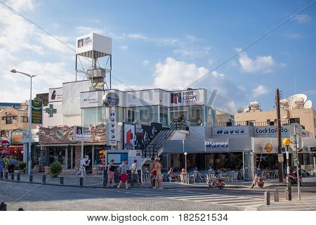 CYPRUS, PROTARAS - 19 SEPTEMBER 2015: Central street in Protaras