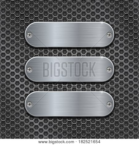 Metal perforated background with oval brushed plates. Vector 3d illustration