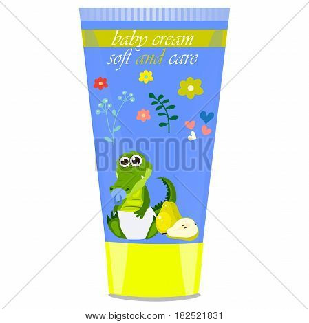 High quality original trendy vector pear Baby cream tube with kids design and crocodile or alligator on floral background illustration