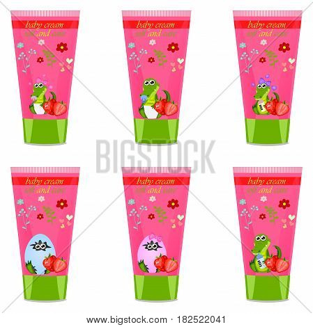 High quality original trendy vector strawberry Baby cream tube with kids design and crocodile or alligator on floral background illustration