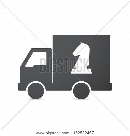 Isolated Truck With A  Knight   Chess Figure