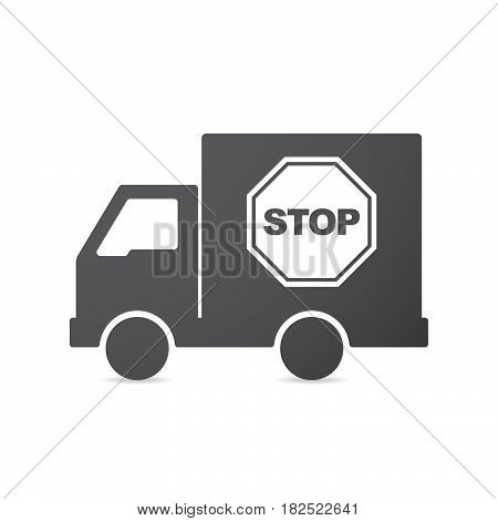 Isolated Truck With  A Stop Signal