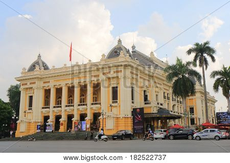 HANOI VIETNAM - NOVEMBER 22, 2016: Unidentified people visit Hanoi Opera House.