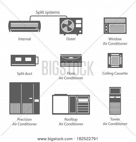 Types of air conditioners icons set vector stock. Conditioners black icons isolated on white background.