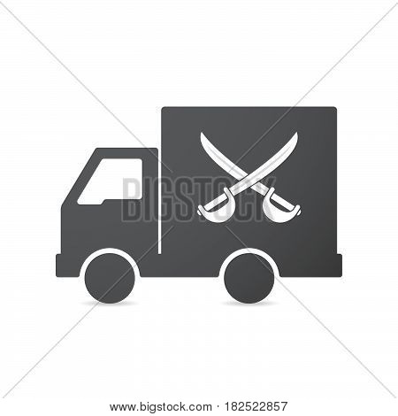 Isolated Truck With  Two Swords Crossed