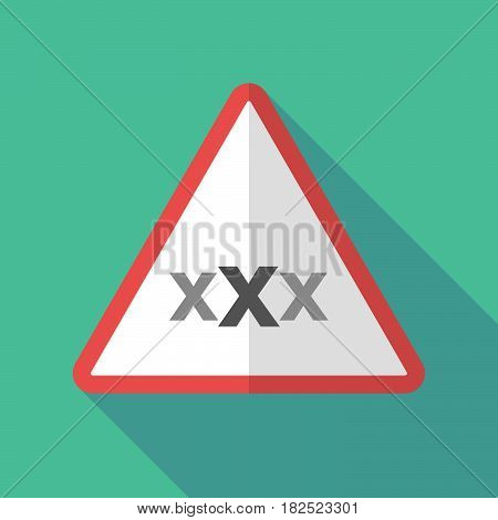 Long Shadow Warning Sign With  A Xxx Letter Icon