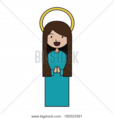 white background of colorful beautiful virgin with long hair and aura vector illustration