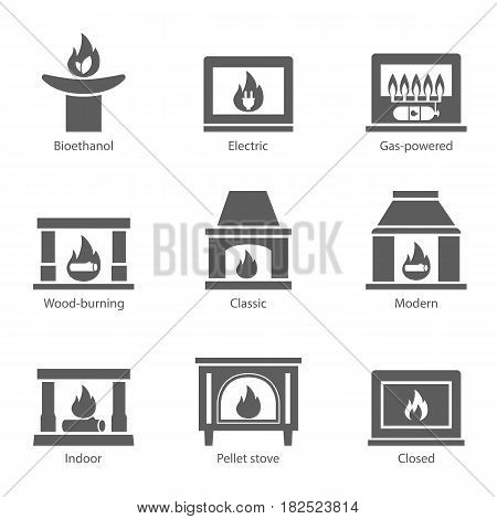 Fireplace icons set vector flat sign isolated on white background. Stove fireplace, biofireplaces, electric, wood-burning, classic, modern, indoor, pellet-stove, gas-powered icons - stock vector.