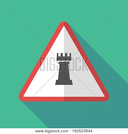 Long Shadow Warning Sign With A  Rook   Chess Figure