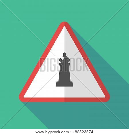 Long Shadow Warning Sign With A Bishop    Chess Figure
