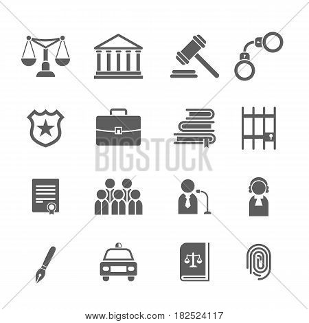 Set of black and white law and justice icons.Judge, gavel, lawyer, scales court, jury, sheriffs, star, law books, briefcase, scribe prison - stock vector illustration