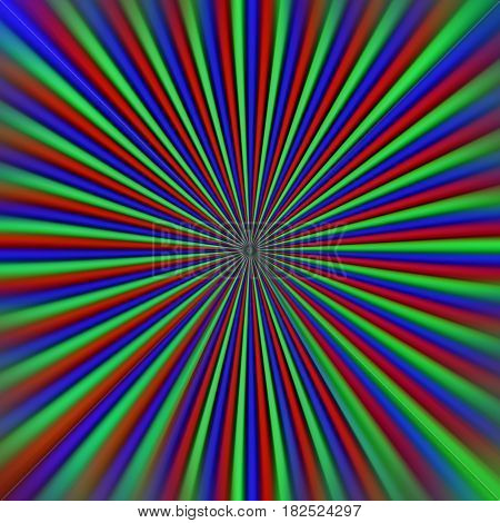 Abstract background.Pixel display RGB tunnel. Macro . Red Green Blue