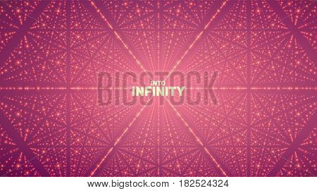 Vector infinite space background. Matrix of glowing stars with illusion of depth, perspective. Geometric backdrop with point array as lattice. Abstract futuristic universe on violet background.