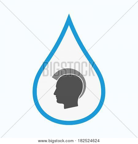 Isolated Water Drop With  A Male Punk Head Silhouette