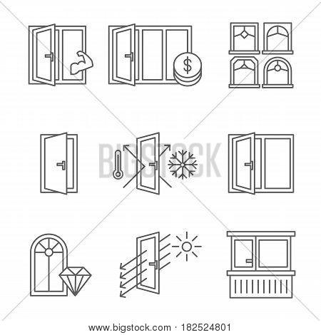 Windows icon set with door and balcony. Lines design isolated on white background - stock vector