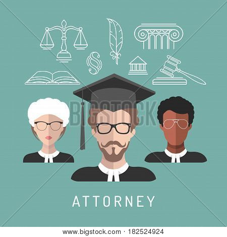 Vector male and female lawyer app icons with attorney symbols in flat style. Advocate man and woman faces avatars signs