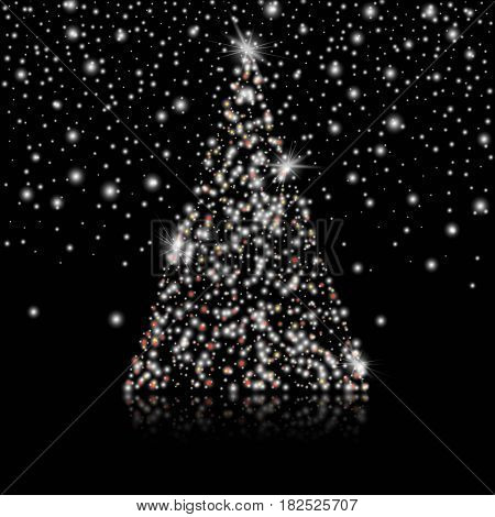 Merry Christmas and Happy New Year Christmas tree on and lights on the black background. Stock vector