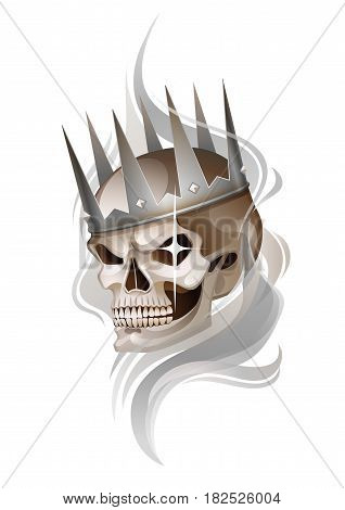 Graphic skull with fearful smile in the silver crown surrounded by gray smoke. Vector tattoo art isolated on white background