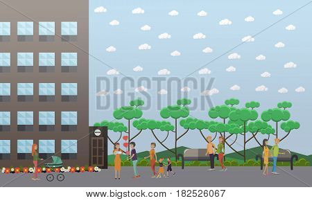 Vector illustration of happy father meeting his wife holding newborn baby, husband visiting his wife in hospital. Maternity hospital, happy families meetings flat style design elements.