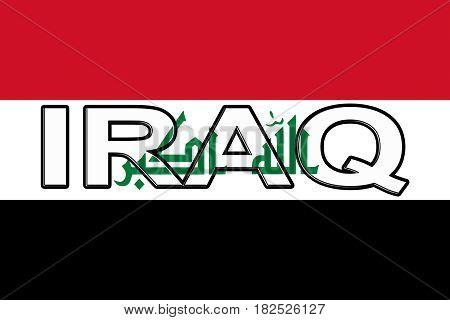 Illustration of the flag of Iraq with the country written on the flag.