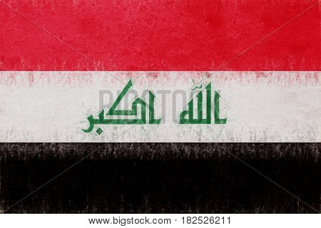 Illustration of the flag of Iraq with a grunge look.