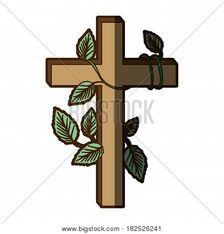 white background with wooden cross and creeper plant and shadow vector illustration