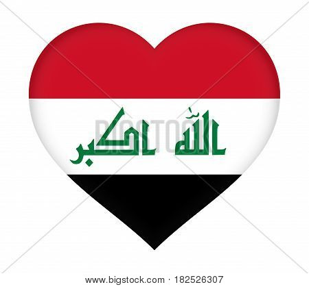 Illustration of the flag of Iraq shaped like a heart.