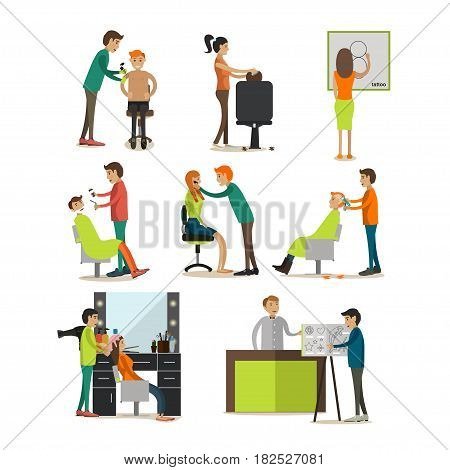 Vector icons set of hair salon, barbershop, tattoo studio staff and clients, cartoon characters, isolated on white background. Flat style design elements.