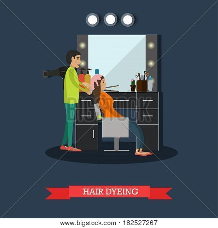 Vector illustration of professional hairdresser dyeing hair of her client female. Hair salon services, hair dyeing concept flat style design element.