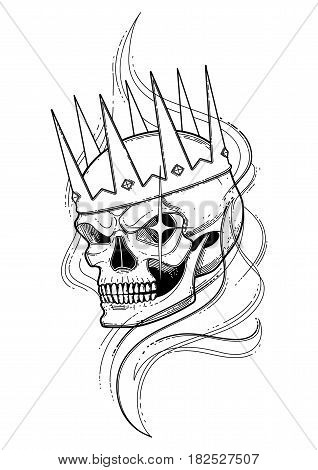 Graphic skull with fearful smile in the crown surrounded by smoke. Vector tattoo art. Coloring book page design for adults
